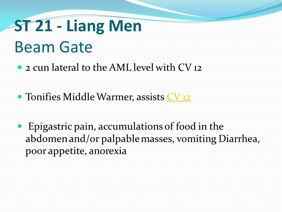 ST 21 - Liang Men Beam Gate 2 cun lateral to the AML level with CV 12