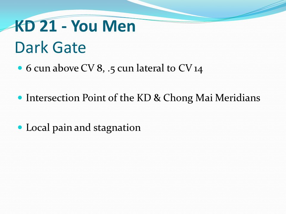 KD 21 - You Men Dark Gate 6 cun above CV 8, .5 cun lateral to CV 14