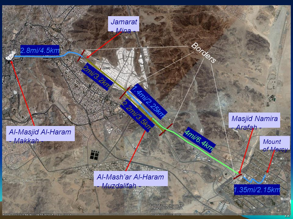 Hajj Sites - Distances Borders Jamarat - Mina - 2.8mi/4.5km 2mi/3.2km
