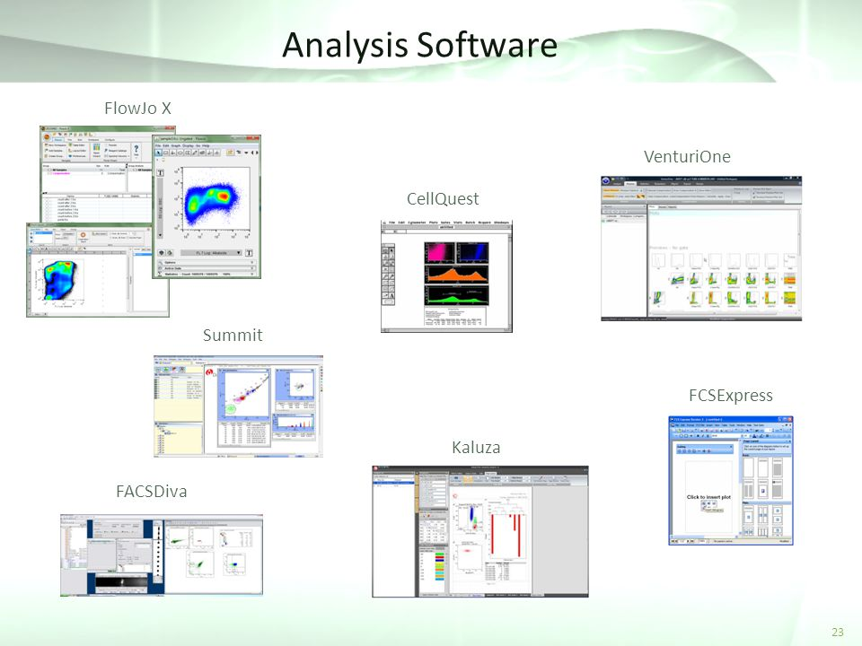 Analysis Software FlowJo X VenturiOne CellQuest Summit FCSExpress