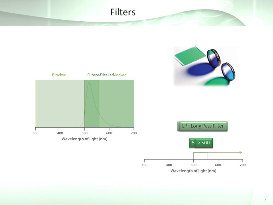 Filters LP : Long Pass Filter > 500 BP : Band Pass Filter 530 / 60