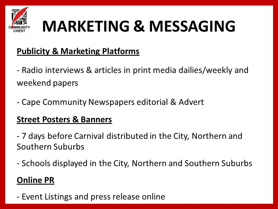 MARKETING & MESSAGING