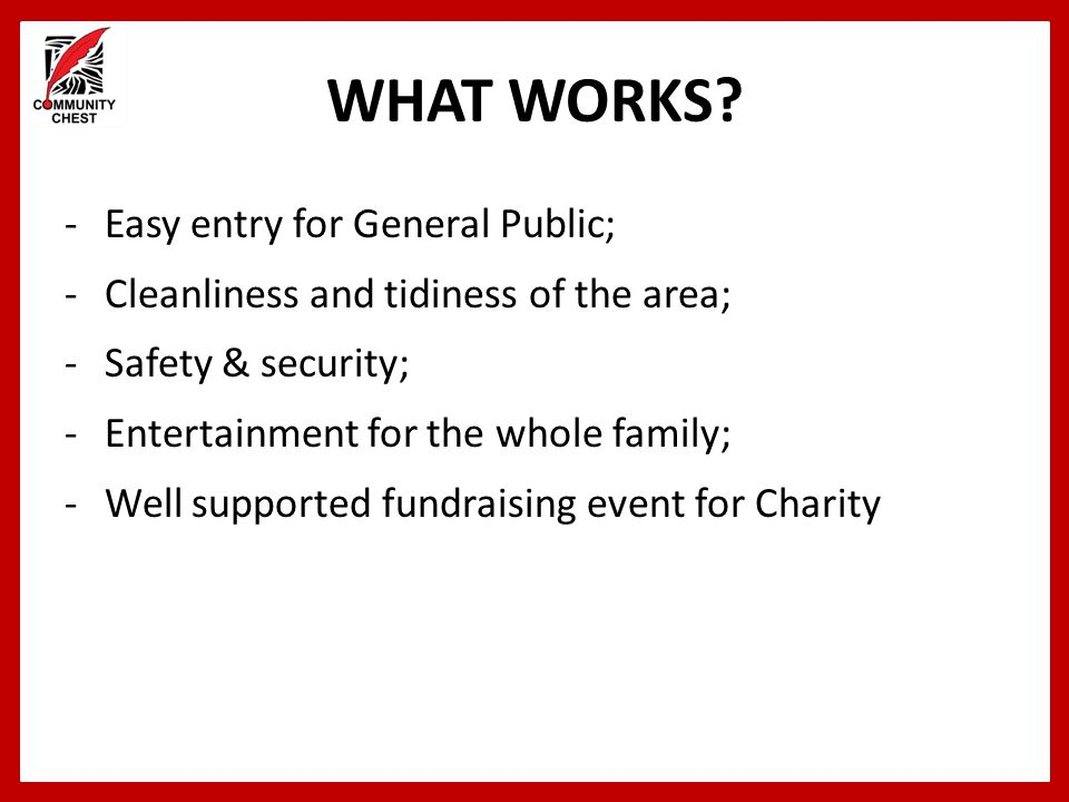 WHAT WORKS Easy entry for General Public;