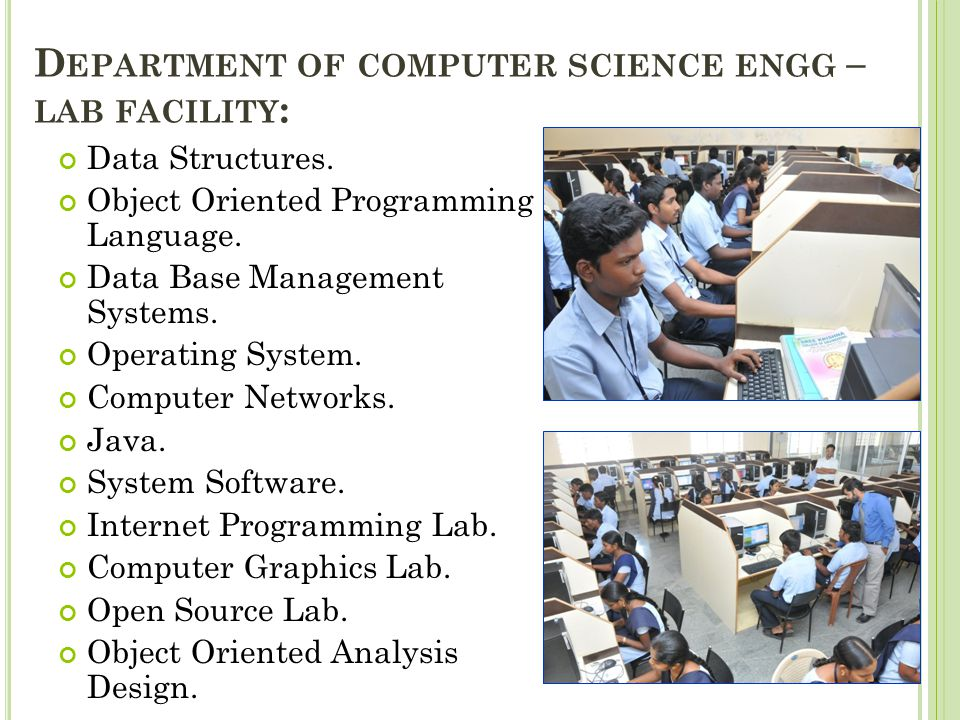 Department of computer science engg – lab facility: