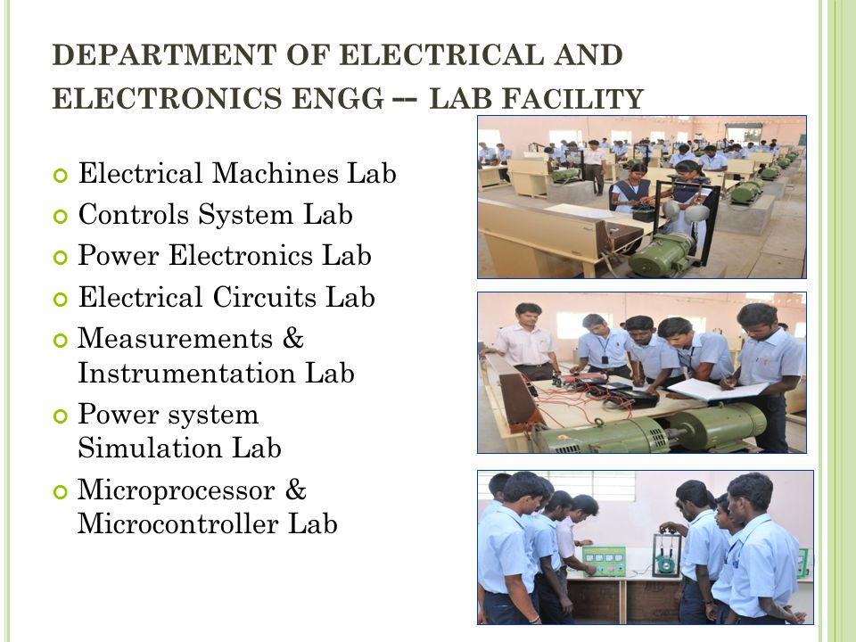 DEPARTMENT OF ELECTRICAL AND ELECTRONICS ENGG -- LAB Facility