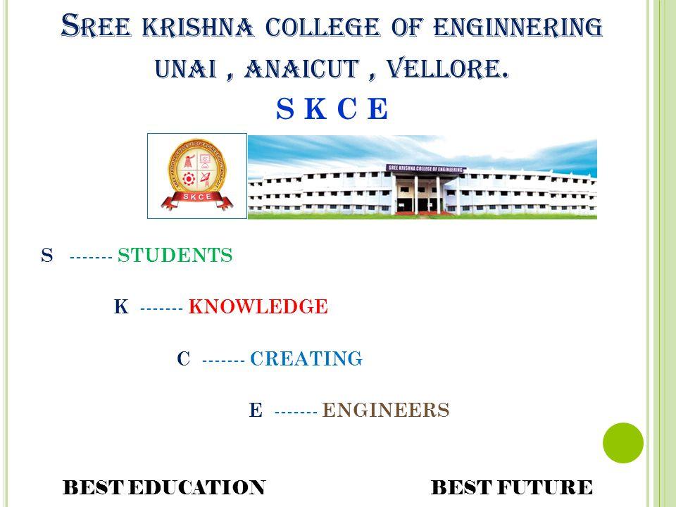 Sree krishna college of enginnering unai , anaicut , vellore.