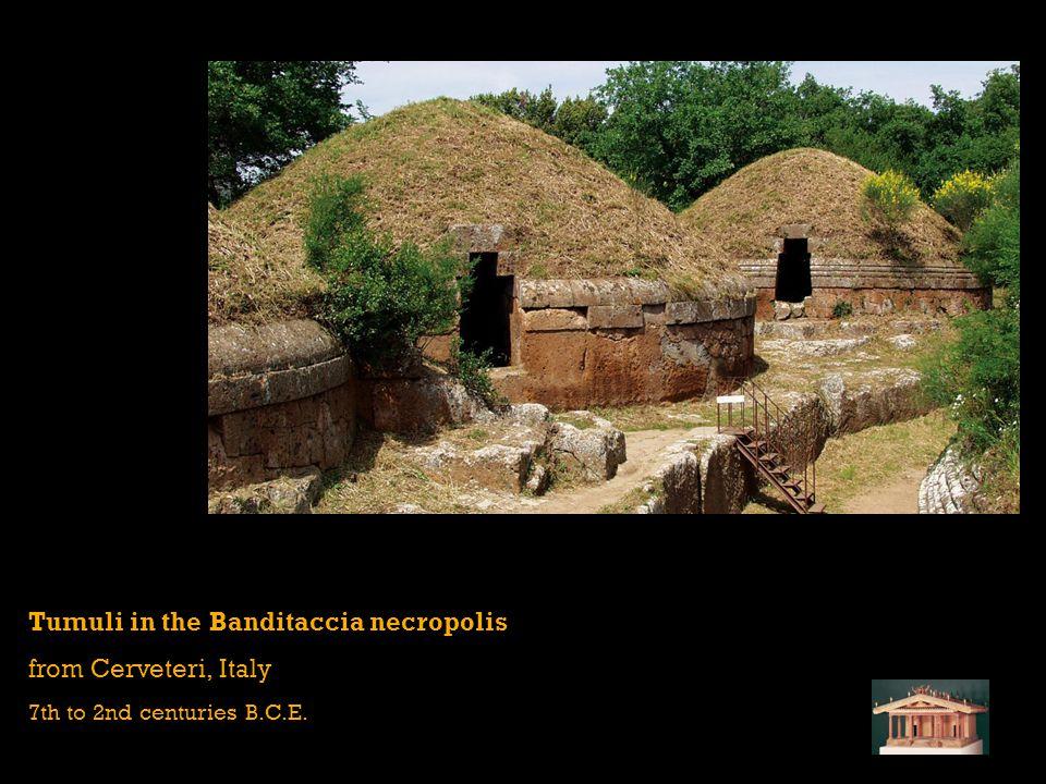 Tumuli in the Banditaccia necropolis from Cerveteri, Italy