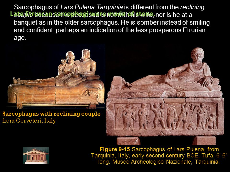Late Etruscan sarcophagi were made of stone.