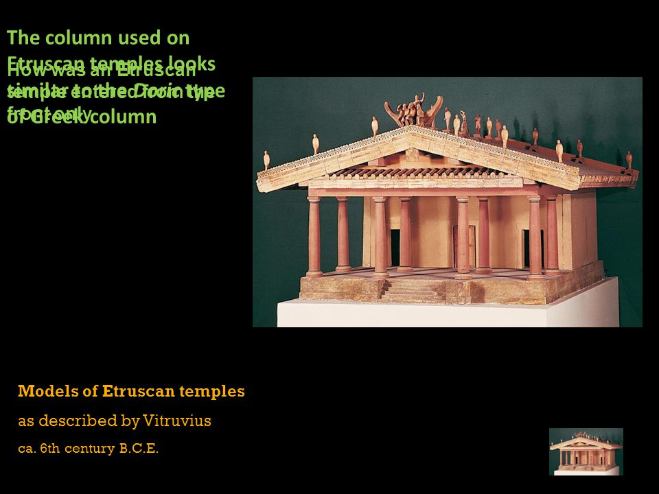 The column used on Etruscan temples looks similar to the Doric type of Greek column