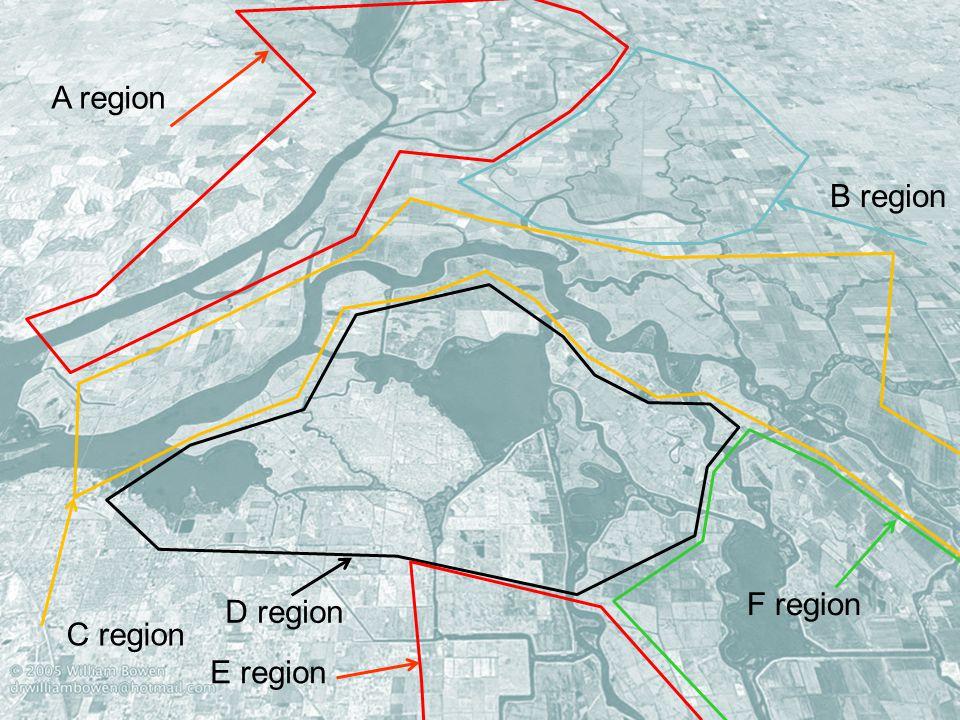 A region B region F region D region C region E region