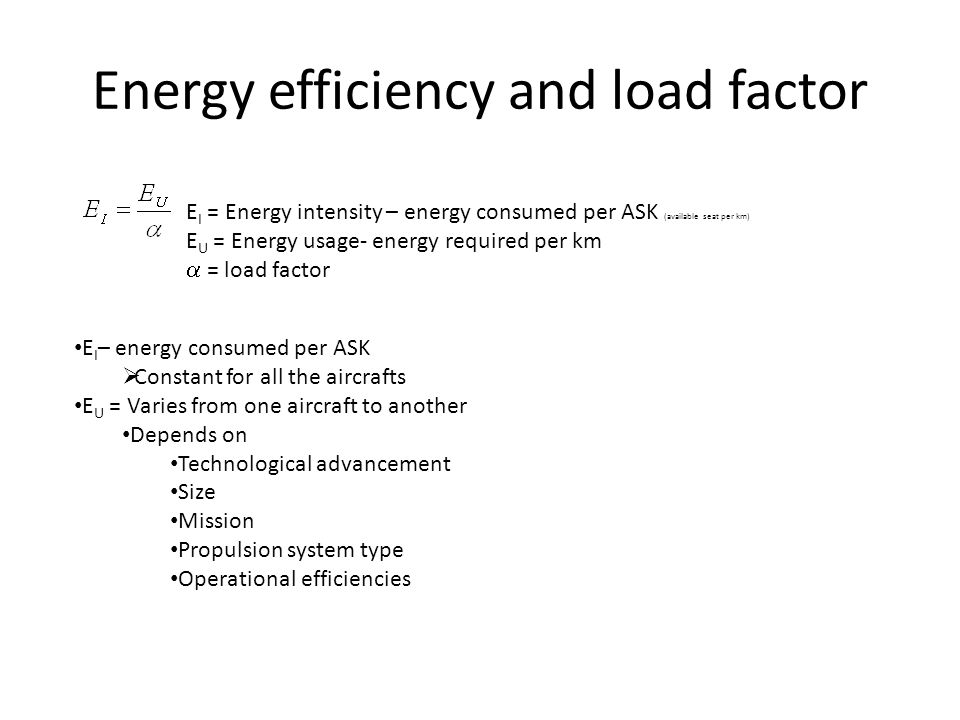 Energy efficiency and load factor