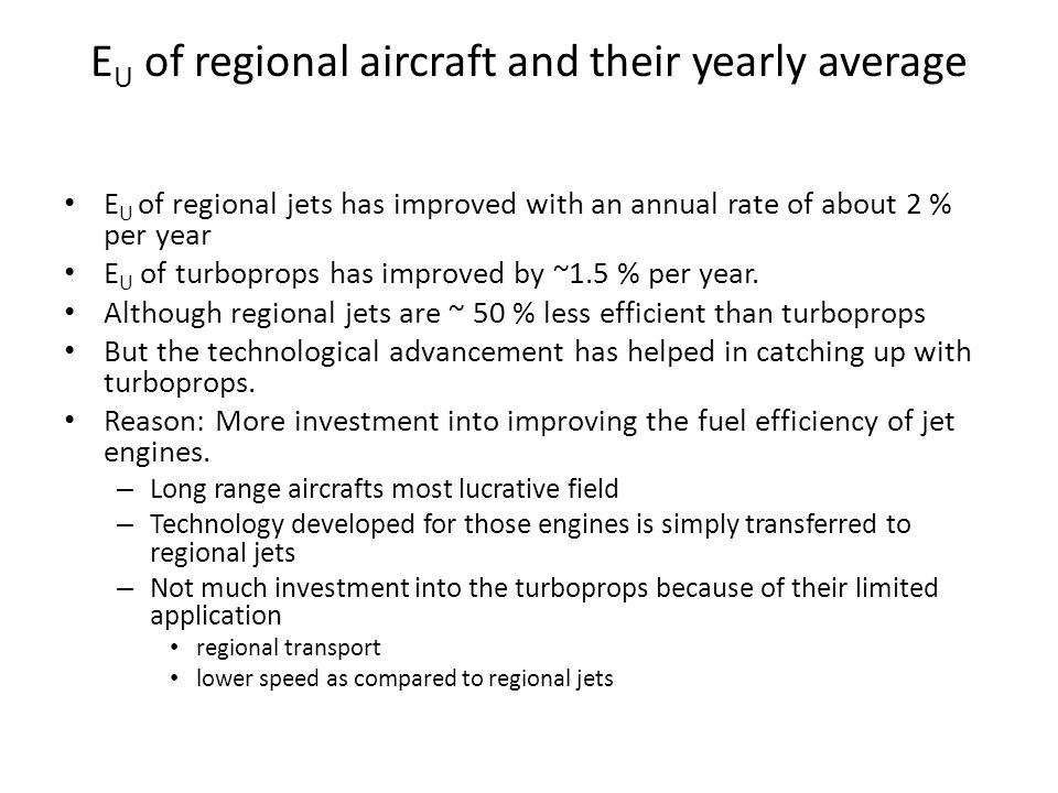 EU of regional aircraft and their yearly average
