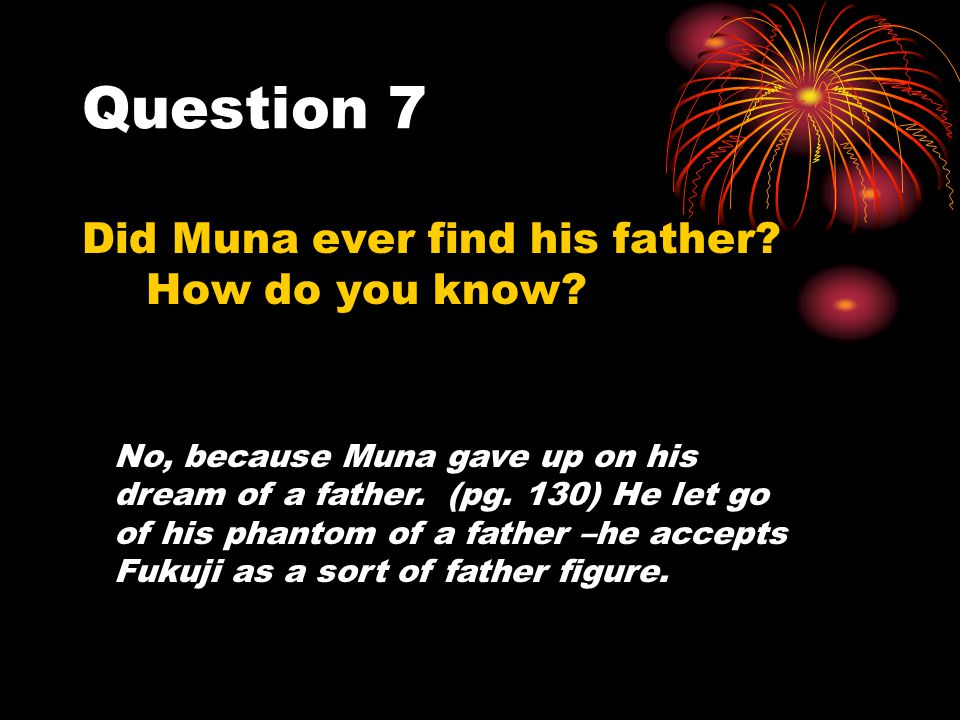 Question 7 Did Muna ever find his father How do you know