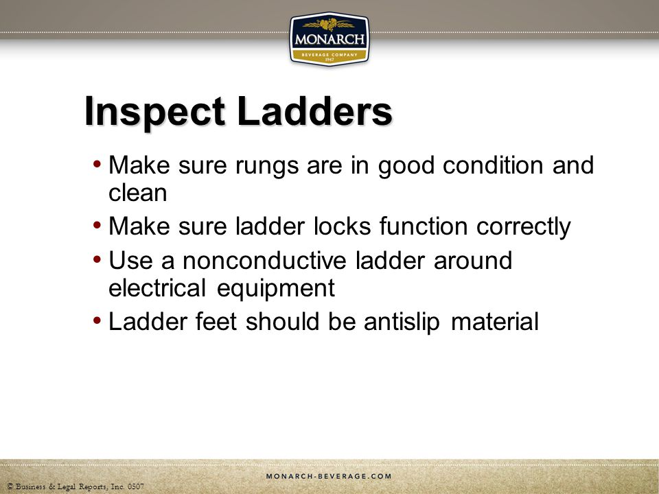 Inspect Ladders Make sure rungs are in good condition and clean