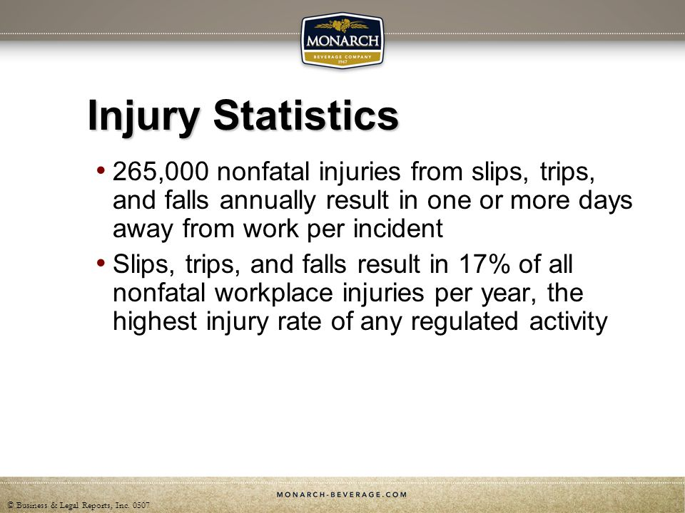 Injury Statistics 265,000 nonfatal injuries from slips, trips, and falls annually result in one or more days away from work per incident.