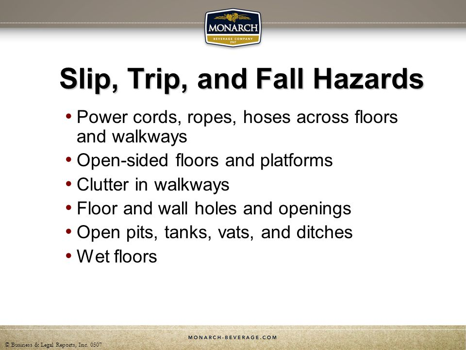 Slip, Trip, and Fall Hazards