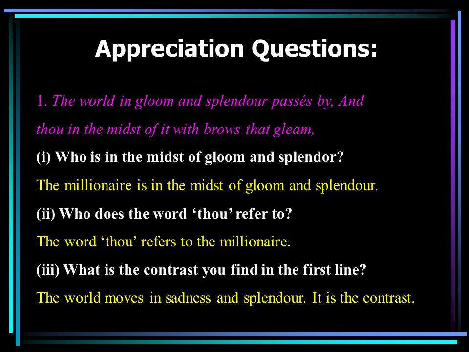 Appreciation Questions: