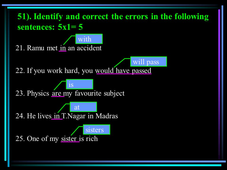 51). Identify and correct the errors in the following sentences: 5x1= 5
