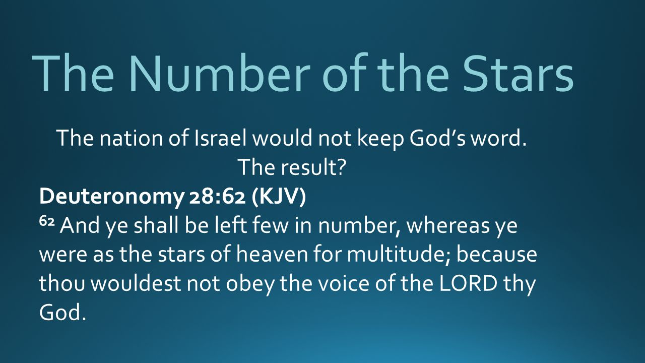 The nation of Israel would not keep God's word.