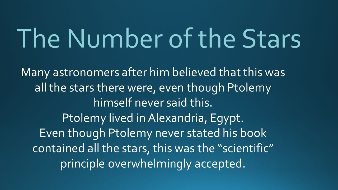 Ptolemy lived in Alexandria, Egypt.