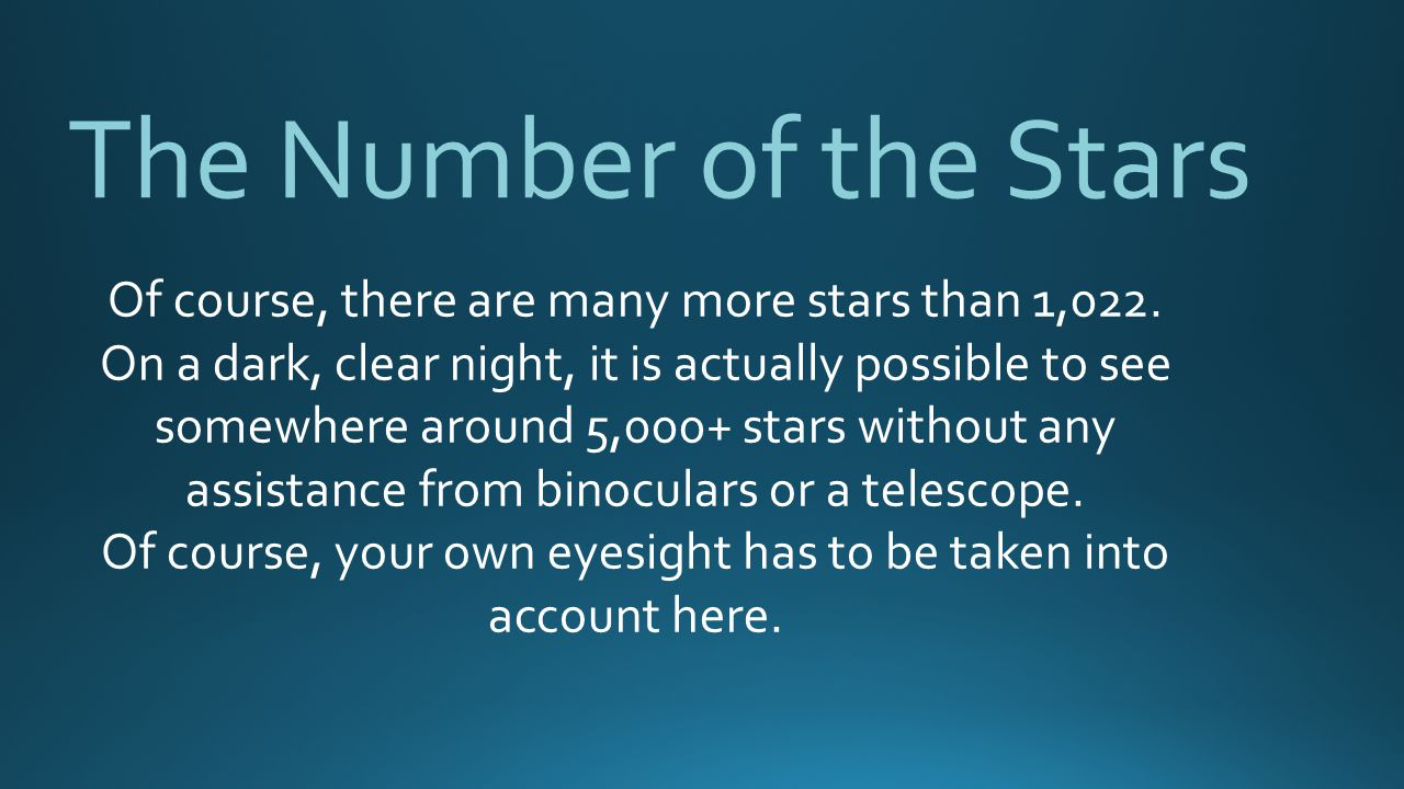 The Number of the Stars Of course, there are many more stars than 1,022.