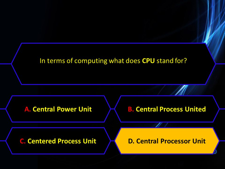 In terms of computing what does CPU stand for