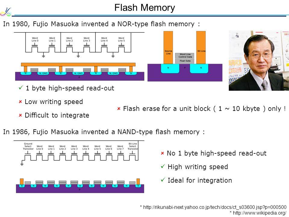 Flash Memory In 1980, Fujio Masuoka invented a NOR-type flash memory :