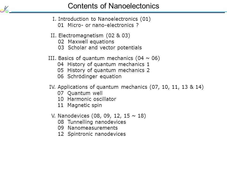 Contents of Nanoelectonics