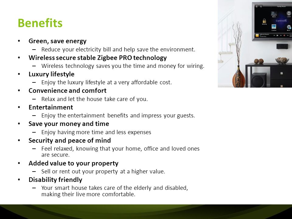 Benefits Green, save energy