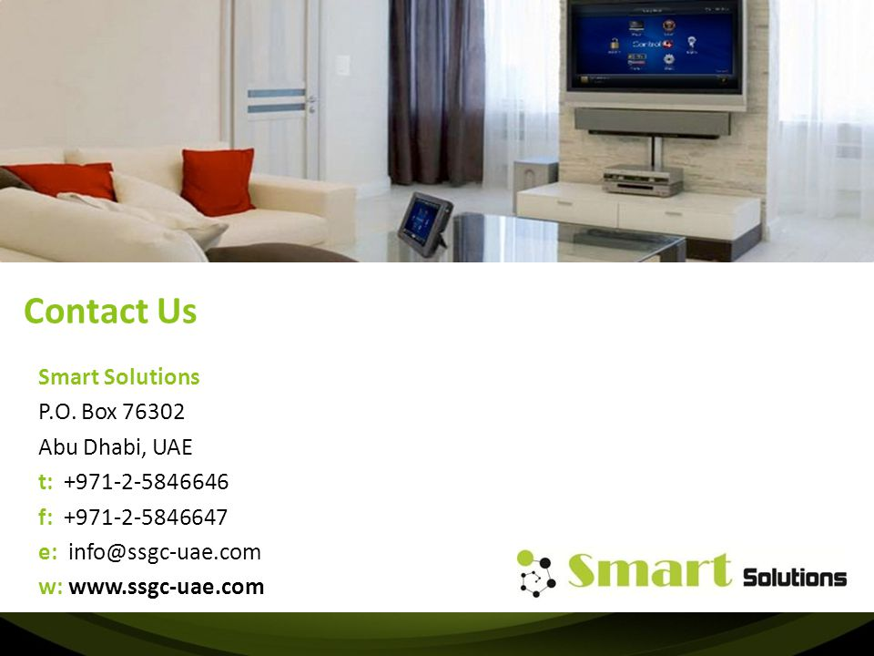 Contact Us Smart Solutions P.O. Box Abu Dhabi, UAE