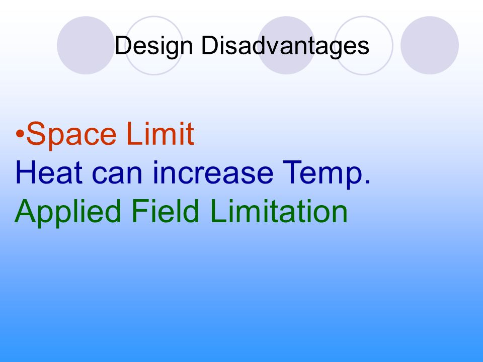 Space Limit Heat can increase Temp. Applied Field Limitation