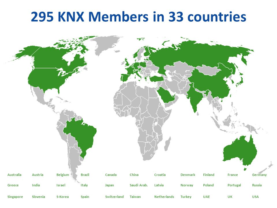 295 KNX Members in 33 countries
