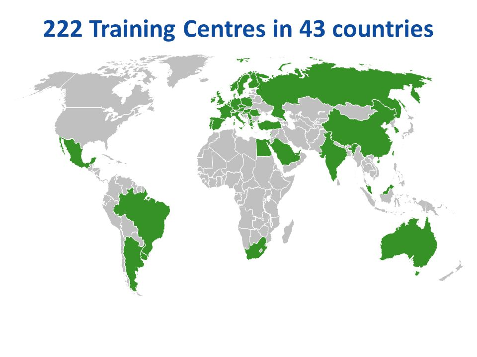 222 Training Centres in 43 countries