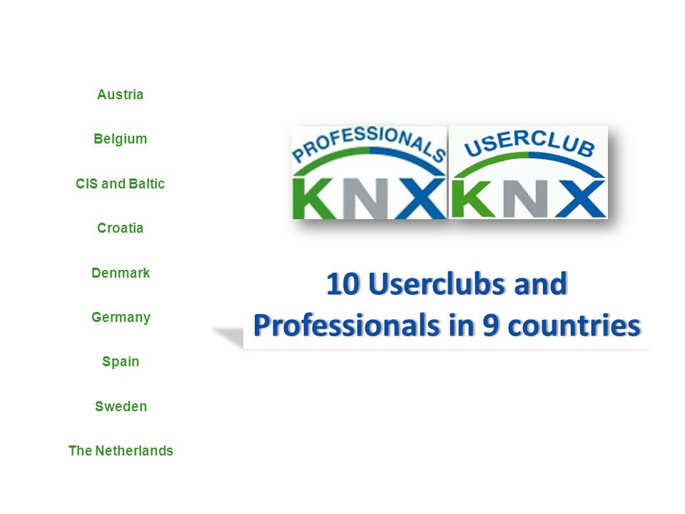 10 Userclubs and Professionals in 9 countries