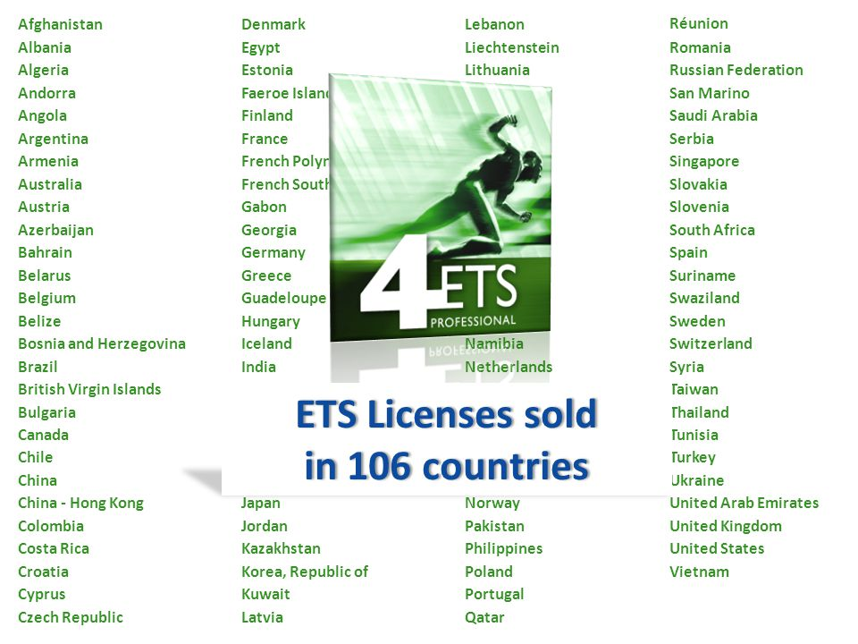 ETS Licenses sold in 106 countries
