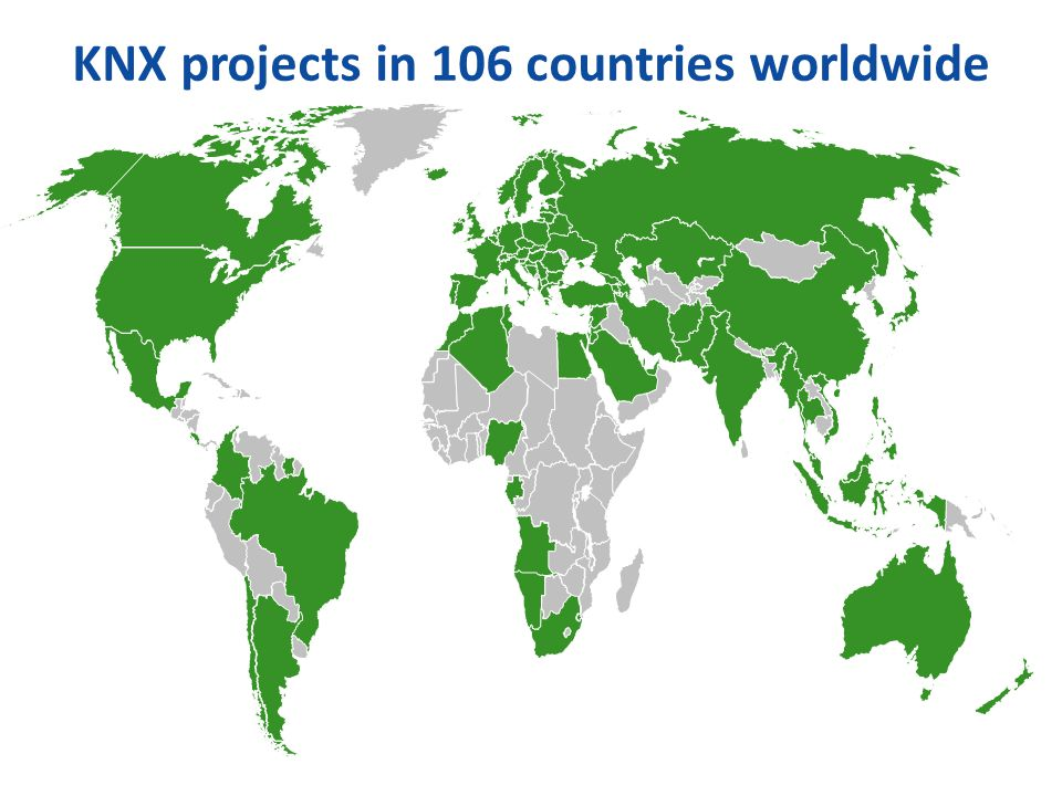 KNX projects in 106 countries worldwide
