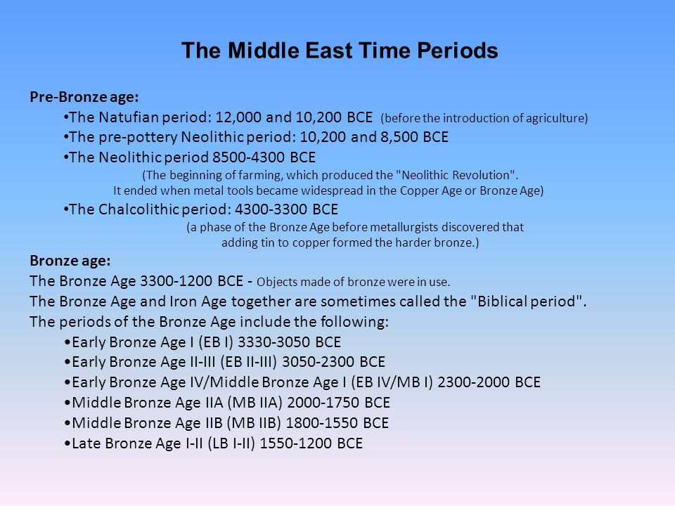 The Middle East Time Periods