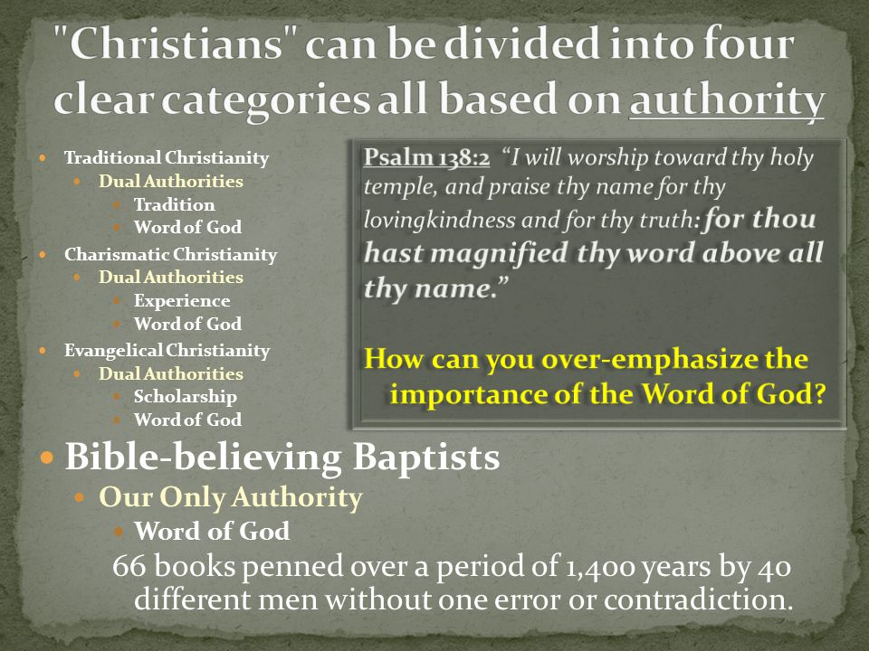 Christians can be divided into four clear categories all based on authority