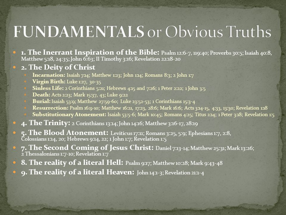 FUNDAMENTALS or Obvious Truths