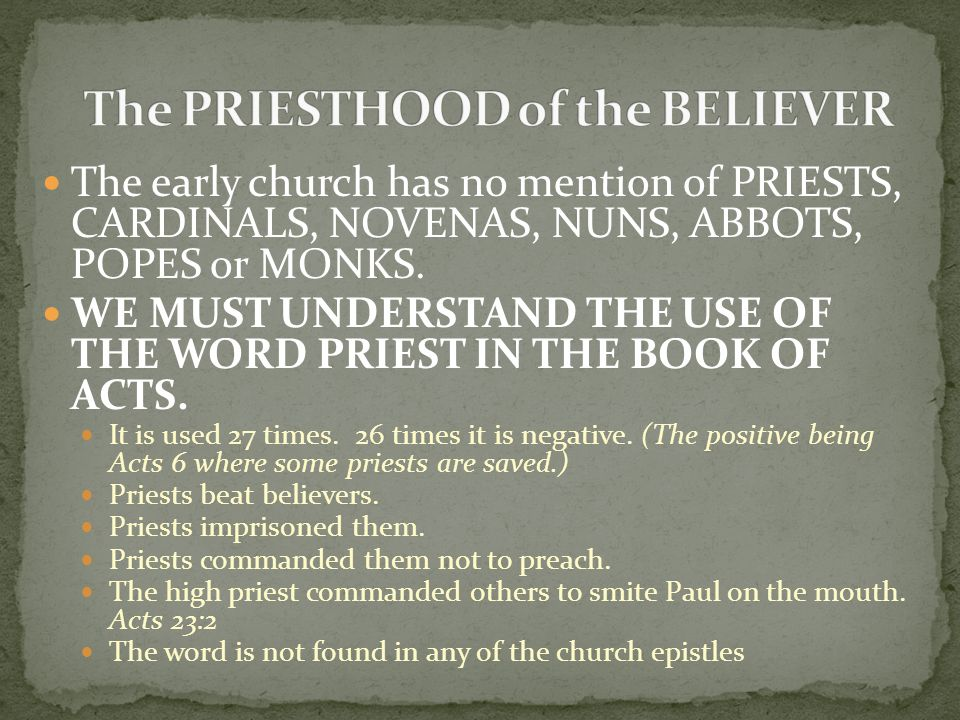 The PRIESTHOOD of the BELIEVER