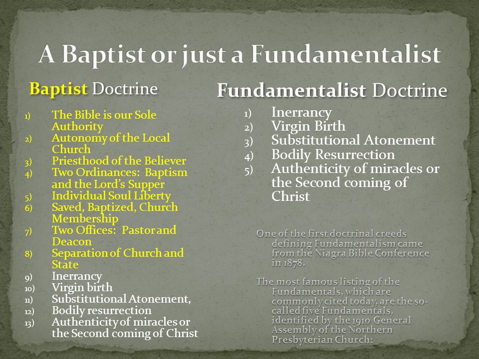 A Baptist or just a Fundamentalist