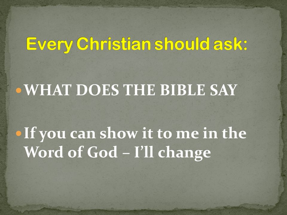 Every Christian should ask: