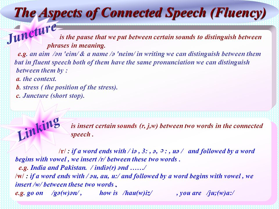 The Aspects of Connected Speech (Fluency)