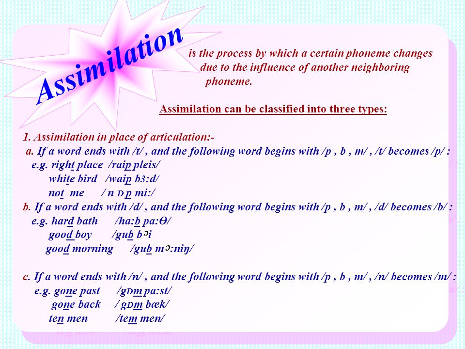 Assimilation is the process by which a certain phoneme changes