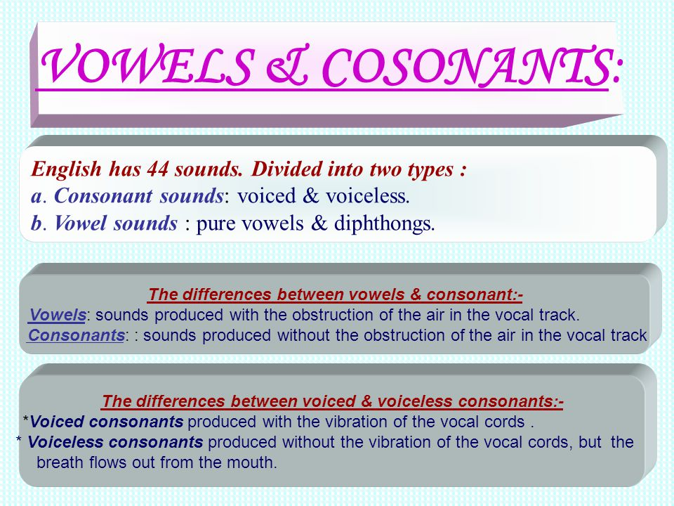 VOWELS & COSONANTS: English has 44 sounds. Divided into two types :