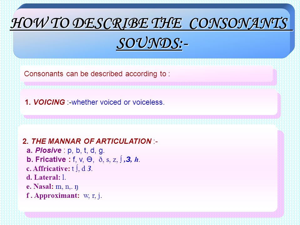 HOW TO DESCRIBE THE CONSONANTS