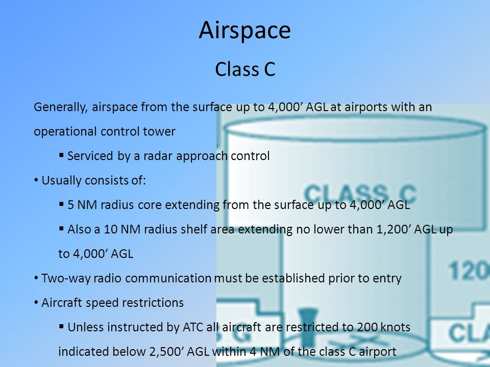 Airspace Class C. Generally, airspace from the surface up to 4,000' AGL at airports with an operational control tower.