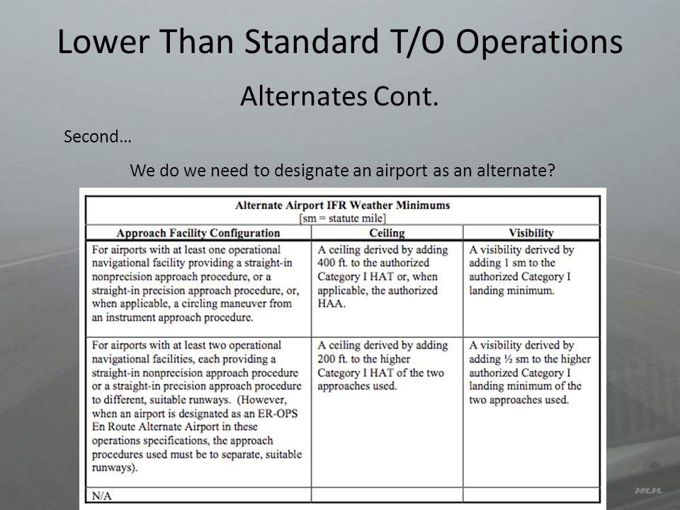 Lower Than Standard T/O Operations