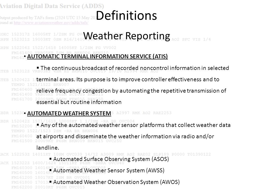 Definitions Weather Reporting