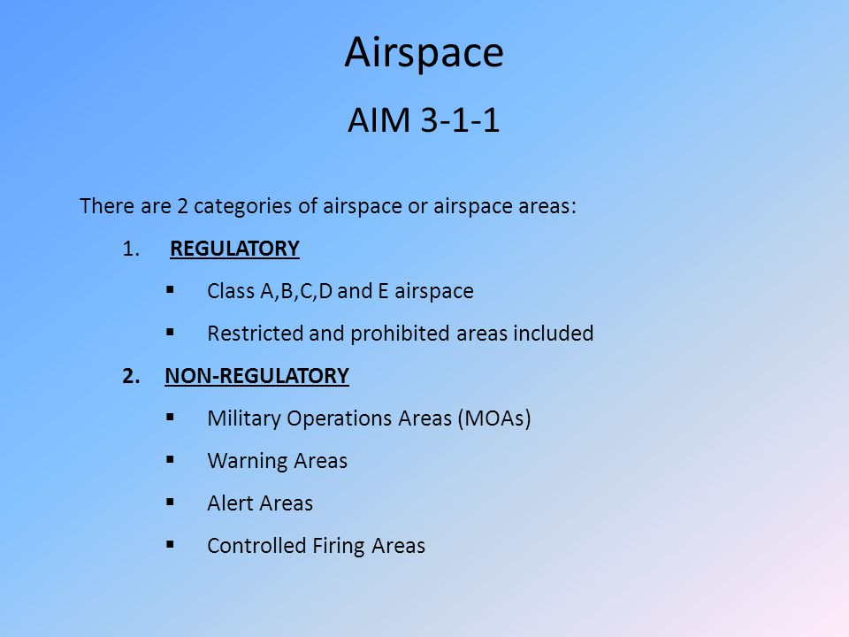Airspace AIM There are 2 categories of airspace or airspace areas: REGULATORY. Class A,B,C,D and E airspace.